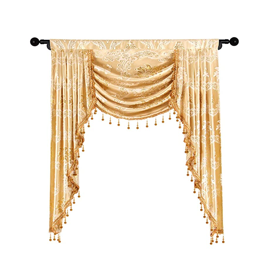 elkca Golden Jacquard Single Swag Waterfall Valance for Living Room Damask Curtain Valance for Bedroom (Damask-Golden, W39 Inch, 1 Panel) xpbfyjfx6846