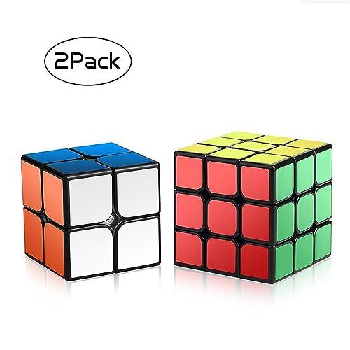 Speed Cube Set,Roxenda Magic Cube Set of 2x2x2 3x3x3 Cube Smooth Puzzle Cube