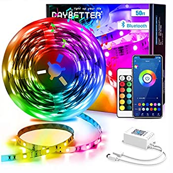 DAYBETTER Led Strip Lights 50ft Smart Light Strips with App Control Remote 5050 RGB Led Lights for Bedroom Music Sync Color Changing Lights for Room Party