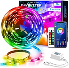DAYBETTER Led Strip Lights 50ft Smart Light Strips with App Control Remote, 5050 RGB Led Lights for Bedroom, Music Sync Color Changing Lights for Room Party
