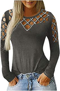 Women's Studded Crew Neck Hollow Out Long Sleeve T Shirts Pullover Casual Blouse Tops