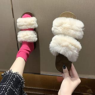 N/A Rider Flip Flops Mens,Furry Slippers For Autumn And Winter, Fashionable And Versatile Flat Slippers For Ladies-Off-W...