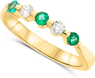 JewelryBliss 18k Yellow Gold Alternating Marquise Green Emerald and Diamond Band Ring