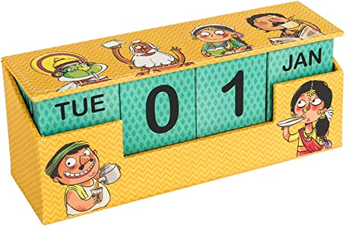 Chumbak Doodle Bobble Head Desk Calendar - Desk Accessory, Doodled Characters, Workspace Essentials, Cotton Pulp, Org...