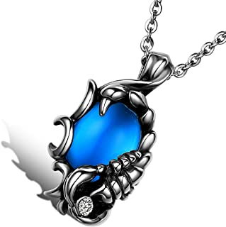 Cool Biker Mens Stainless Steel Scorpion Pendant Necklace with 22 Inch Chain, Silver Blue
