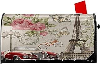 Delerain Paris Eiffel Tower Mailbox Cover, Magnetic Mailbox Wraps Letter Post Box Home Garden Outdoor Decorative for Standard Size 21