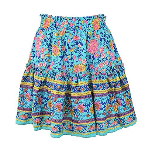 Falda corta con estampado floral acampanado falda plisada estilo étnico bohemio, azul, 36