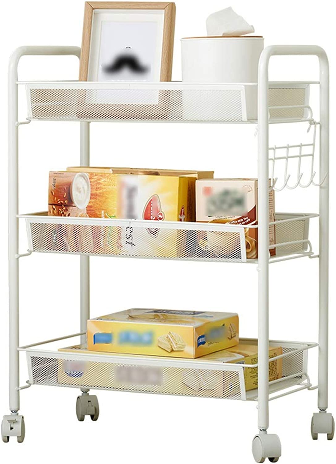 YANZHEN Kitchen Shelf Wire Shelving Floor-Standing Durable Can Move with Pulley Multifunction Storage Carbon Steel, Bearing Weight 60KG (color   White, Size   44x26x63cm)