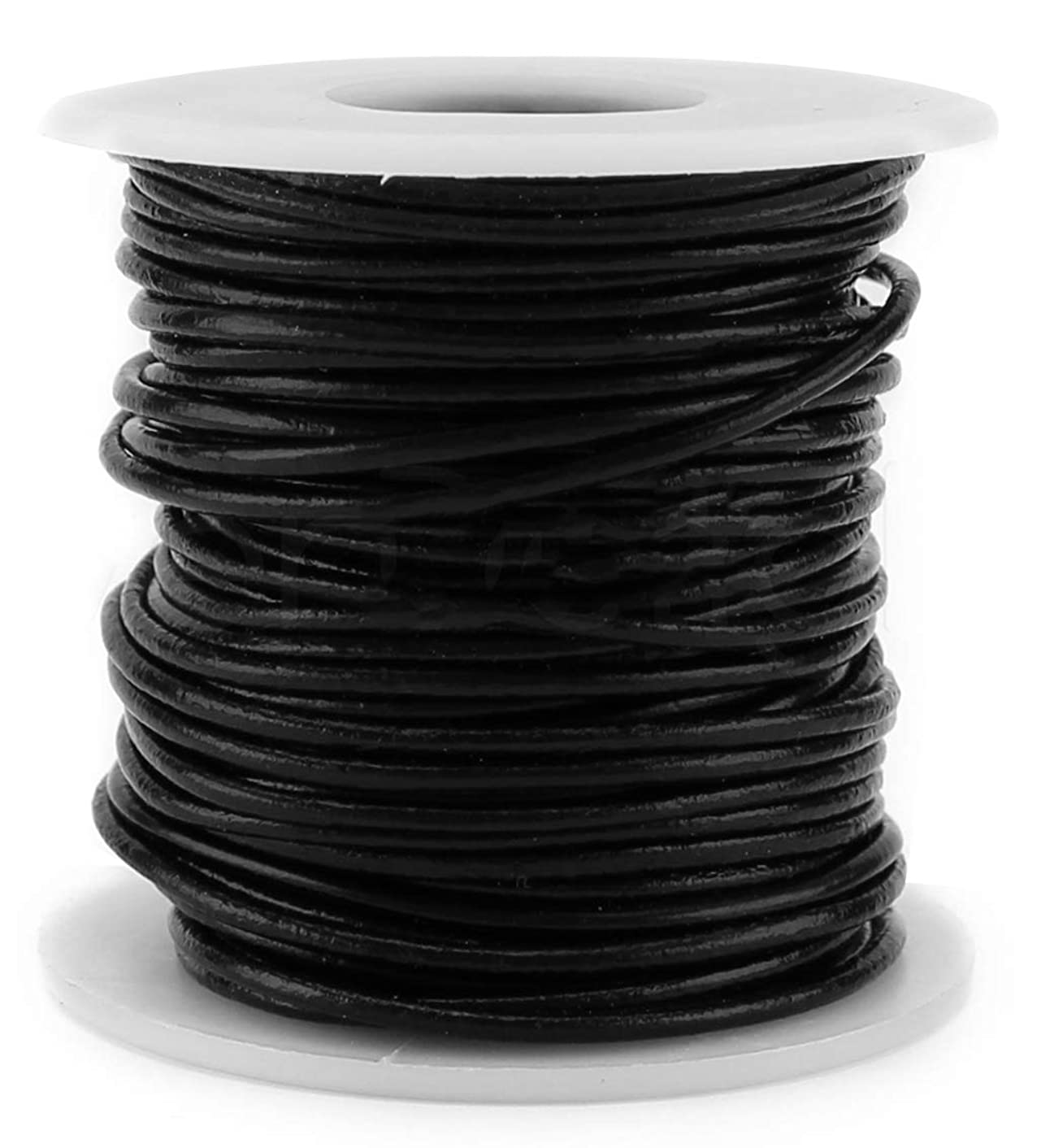 CleverDelights Black Round Premium Genuine Leather Cord - 2mm - 10 Meters (11 Yards) - Beading Jewelry