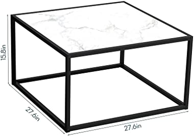 SAYGOER Coffee Table Small Modern Marble Coffee Table Square Simple Center Tables for Living Room Home Office, White