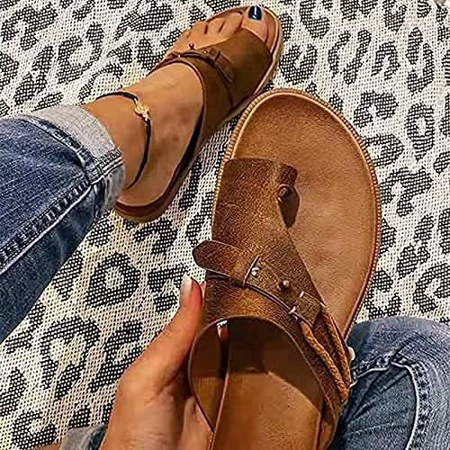 2021 new summer orthopedic sandals women s orthopedic orthopedic leather ring toe casual slippers toe separation flat shoes