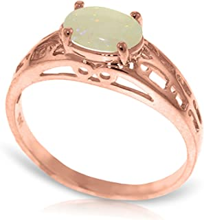 ALARRI 14K Solid Rose Gold Filigree Ring w/ Natural Opal