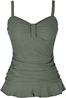 Mycoco Women's Swim Top Padded Ruffle Hem Shirred Swimwear Tankini Swimsuit Top