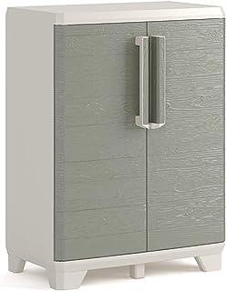 KETER | Armoire Basse WOOD GRAIN - EPACK, Beige / Sable, Cabinets, 68x39x97 cm