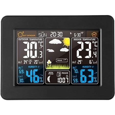 Phonleya Estación meteorológica inalámbrica para Exteriores, Interior, Sensor, pronóstico, Reloj Digital USB, monitoreo con Temperatura, Humedad, barómetro, Reloj Despertador (Negro)