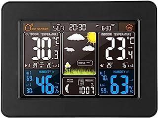 Phonleya Estación meteorológica inalámbrica para Exteriores, Interior, Sensor, pronóstico, Reloj Digital USB, monitoreo co...