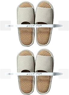 AooYo スリッパラック 靴ホルダー コンパクト バスルームスリッパ 2個セット 2足用 壁掛け式 スリッパ収納 強力粘着 スリッパホルダー 靴ラック スリッパホルダー 玄関 浴室 サンダル収納 省スペース 穴あけ不要 ホワイト