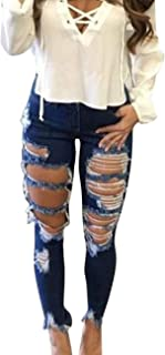 Tsmile Women Skinny Distressed Denim Jeans Plus Size Solid High Waist Stretch Slim Pants Flower Embroidery Jeans