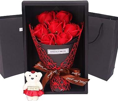 lamta1k 1 bouquet de savon artificiel en forme de rose, cadeau de fête des mères, d'anniversaire, de mariage – Rouge
