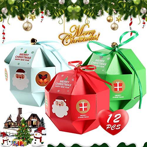 Zawtr Lot de 12 petites boîtes cadeau pour le réveillon de Noël - pour bonbons, chocolats ou crackers