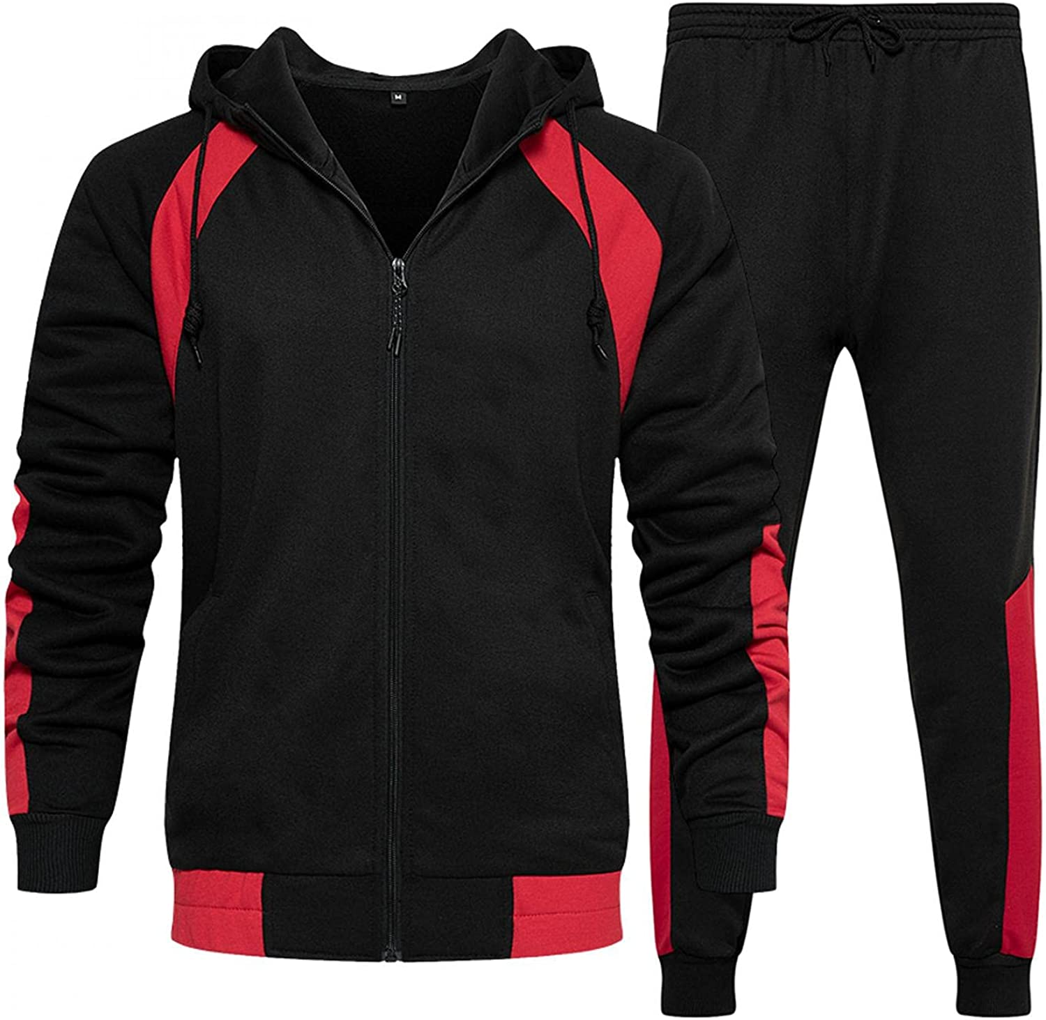 LEIYAN Mens 2 Piece Outfits Sets Athletic Long Sleeve Colorblock Hooded Sweatshirt Running Pants Casual Jogger Tracksuit
