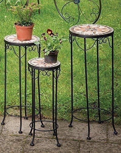 linoows Blumenständer Set Constanza, Mosaik Möbel im Mediterrane Stil, 3er Set