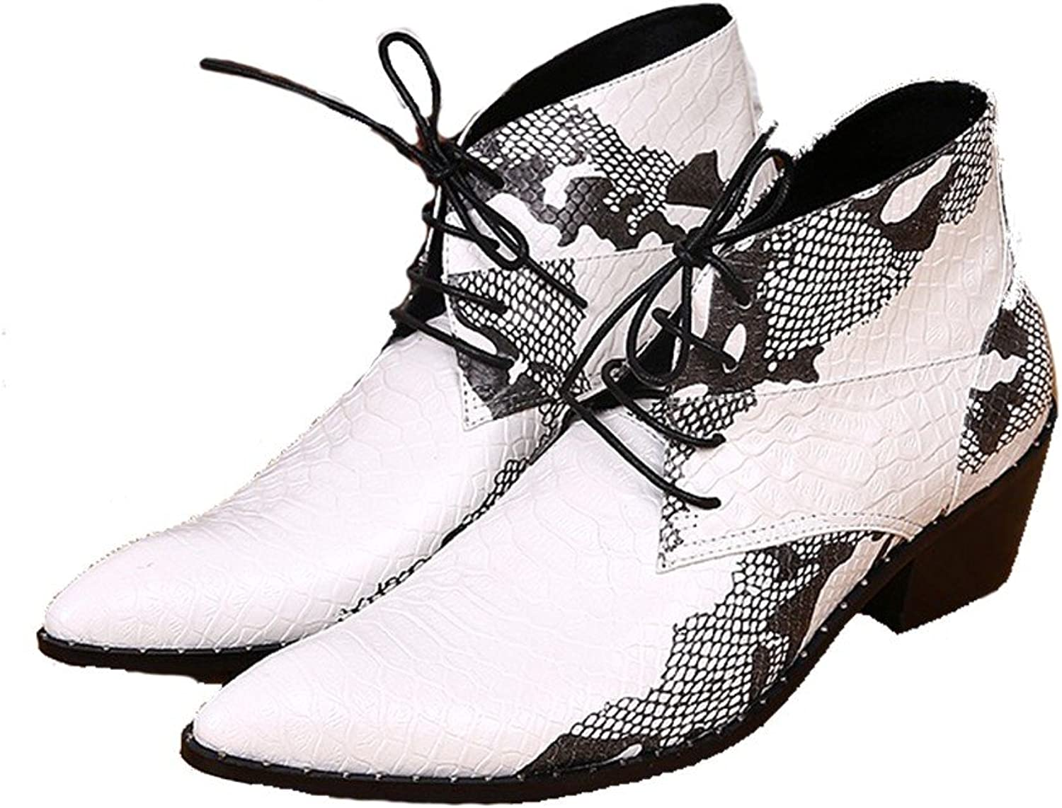 Cover Plus Size 5-12 New White Animal Print Genuine Leather Dress Ankle Boots Mens shoes