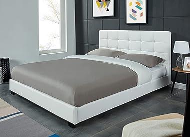 PEGANE Lit Double 140 x 190 cm en Simili Cuir capitonné Coloris Blanc - Longueur 206 x Largeur 148 x Hauteur 97 cm