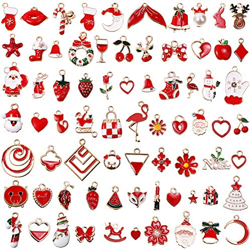70 Pieces Mixed Enamel Red Theme Charms Pendants Christmas Pendants for Jewelry Making Bulk Necklace Earrings Bracelet Keychain Bulk Craft Findings Wholesale