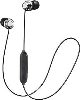 JVC Auriculares inalámbricos a Prueba de Sudor, 5 Horas de duración de la batería, Ajuste Seguro y cómodo con Mando a Distancia de 3 Botones, Color Plateado