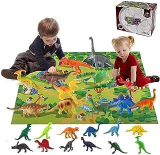 AM ANNA 24 Pcs Dinosaur Playset Plastic Dinosaur Toy Educational Realistic Dinosaurs Figures With Play Mat