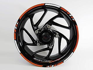 Bike Label 710031A - Juego de Adhesivos para Llantas de Moto, Color Naranja