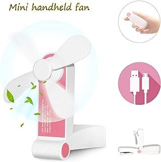 Bornran Mini Ventiladores de Mano Ventilador portátil USB con Batería Recargable Pequeños Ventilador de Bolsillo Ventilador plegable de viaje