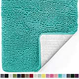 Gorilla Grip Original Luxury Chenille Bathroom Rug Mat, 70x24, Extra Soft and Absorbent Shaggy Rugs, Machine Wash and Dry, Perfect Plush Carpet Mats for Tub, Shower, and Bath Room, Turquoise