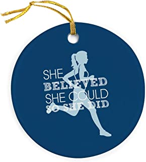 Gone For a Run She Believed She Could Ornament | Running Porcelain Ornaments | Blue