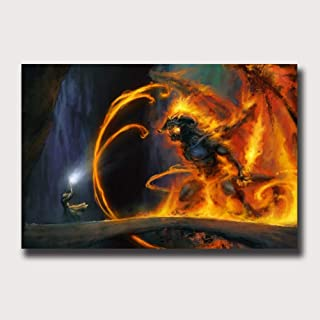 Artwcm Gandalf vs The Balrog,Lord Of The Rings Oil Paintings Modern Canvas Prints Artwork Printed on Canvas Wall Art for Home Office Decorations-599 (Framed,16x24inch)