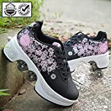 QWERTY Outdoor Roller Skates for Women,Inline Skates Women,Adult Skates, 2 in 1 Multipurpose Shoes, Adjustable Shoes,A-8