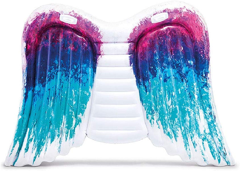 CBWZDJZDS Wasser Aufblasbare Schwimmende Reihe Groe Engelsflügel Schwimmbett Aufblasbarer Schwimmring Erwachsene Dickes Blau 251X161 cm