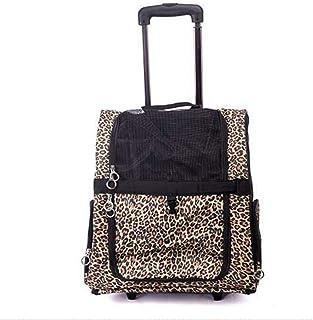 Duffel Bag Pet Travel Stroller Dog Dog Trolley Stroller Trolley with Wheels Gym Bag (Color : Leopard, Size : Large)