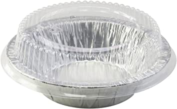 """5"""" Aluminum Pie or Tart Pan Combo with Dome Lids. Pack of 25 pans and 25 Lids"""