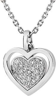 Tuscany Zilveren halsketting voor dames, sterling zilver, verstelbaar met zirkonia, 18 mm x 22 mm, hartvormige hanger 41 c...