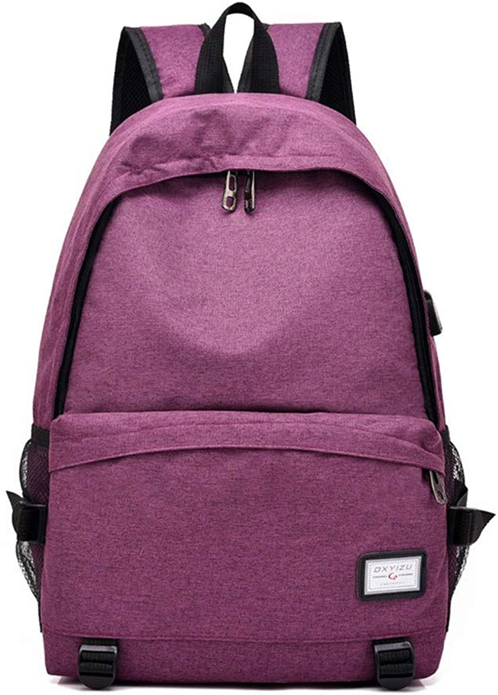 Herren Computer Tasche USB Aufladung Oxford Stoff Rucksack einfache Studententasche, 48 × 33 × 16 cm, lila