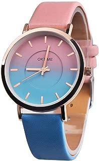 Siviki Retro Rainbow Design PU Leather Strap Wrist Watches for Women