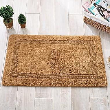Lesic Shaggy Microfiber Bath Mat Skid-Resistant Cotton Woven Pure-color 20x32 inches, Camel