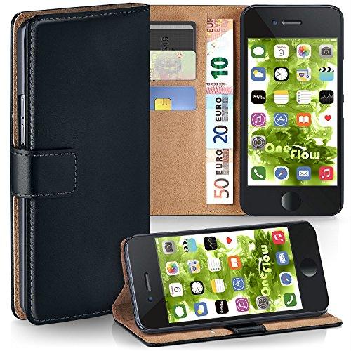 MoEx Premium Book-Case Handytasche kompatibel mit iPhone 6S / iPhone 6 | Handyhülle mit Kartenfach und Ständer - 360 Grad Schutz Handy Tasche, Schwarz