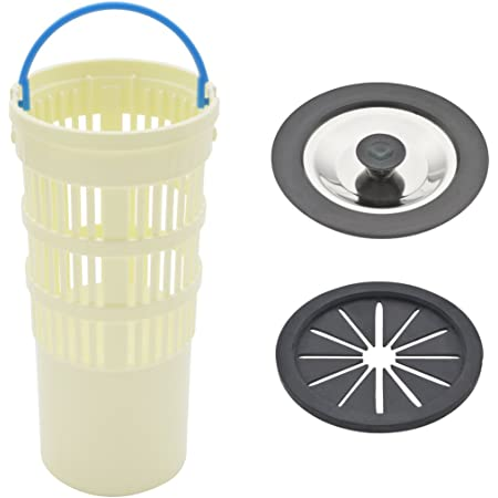 GAONA 流し用フルセット GA-PB047 ゴミ受け:アイボリー、菊割れゴム・止水フタ:ブラック ゴミ受け:直径78ミリ×高さ164ミリ、菊割れフタ:直径79ミリ×厚み5ミリ、フタ:直径84ミリ×厚み9ミリ