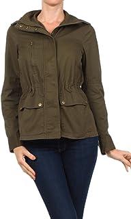 vialumi WomensジュニアSolid Colored Long Sleeve Basic Cargo Jacket