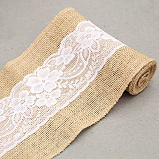 GARGON 5x95inch Burlap Chair Sashes with Lace Shabby Chic Rustic Bowknot Wedding, Chair Cover Sashes - Burlap Wedding Bows, Wedding Decorations Rustic, Wholesale Burlap Runners