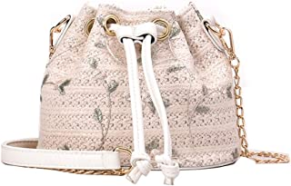 2019 New Bag Women's Straw Small Bag Ocean Shoulder Shoulder Bag Small Fresh Lace Woven Bucket Bag(fenmei),White