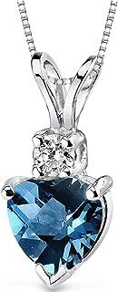 14 Karat White Gold Heart Shape 1.00 Carats London Blue Topaz Diamond Pendant